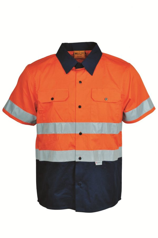 Bocini Cotton Drill Work Shirt With Reflective Unisex - SS1231