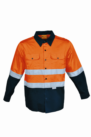 Bocini Cotton Drill Work Shirt With Reflective Unisex - SS1232